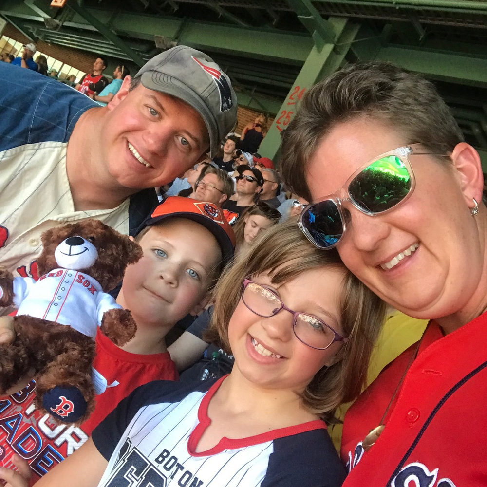 VLACS instructor Lindsey DeLorenzo and family at Fenway Park
