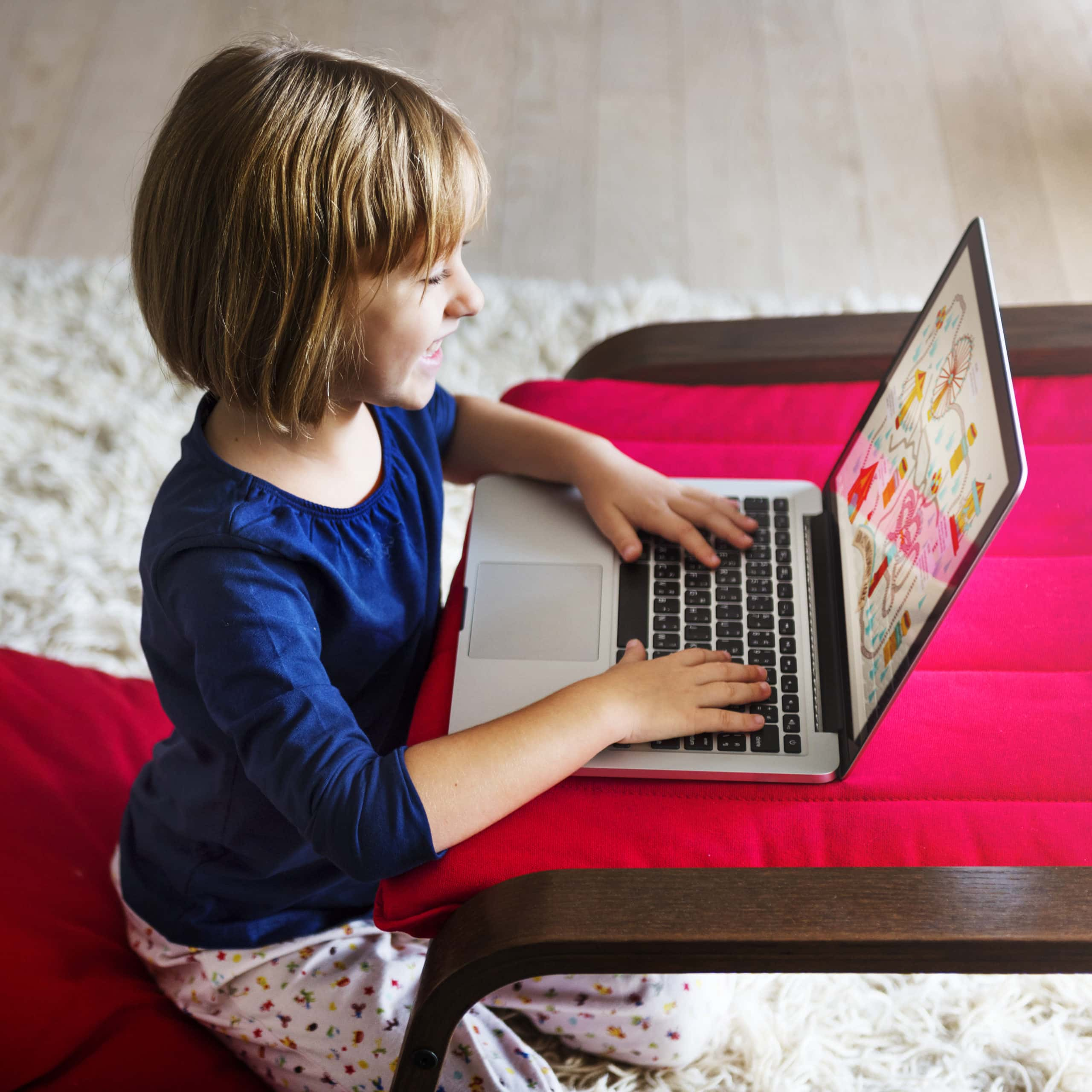 girl working on laptop, online learning